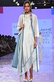 Powder Blue Pleated & Draped Dress With Embroidered Overlayer by Tahweave