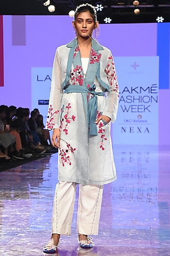 Powder Blue Embroidered Sheer Trench Coat With Bustier & Pants by Tahweave