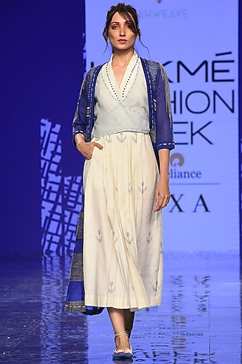 Cobalt Blue Overlayer With Off-White Embroidered & Pleated Dress by Tahweave