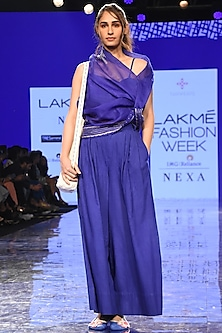 Cobalt Blue Embroidered Kaftan With Bustier & Pants by Tahweave-LAKMÉ FASHION WEEK S/R '20