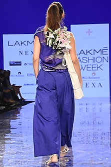 Cobalt Blue Embroidered Kaftan With Bustier & Pants by Tahweave