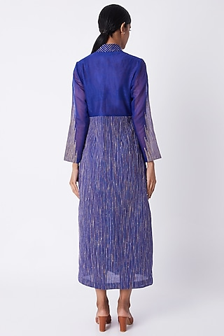 Cobalt Blue Pleated Dress by Tahweave