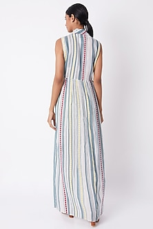 Multi Colored Striped Asymmetric Dress by Tahweave
