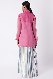 Fuchsia Pintucked Trench Coat by Tahweave