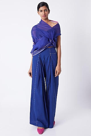 Cobalt Blue Kesh Draped Top With Bustier by Tahweave