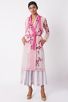 Blush Pink Floral Sheer Trench Coat by Tahweave