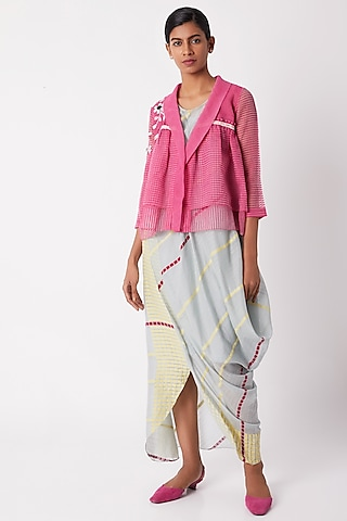 Fuchsia Layered Pleated Overlayer by Tahweave