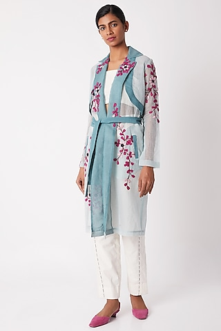 Sky Blue Sheer Trench Coat by Tahweave
