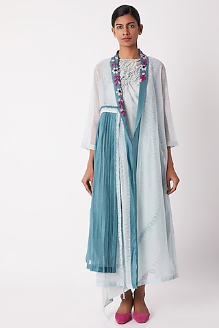 Light Blue Sheer Wrap Overlayer Dress by Tahweave