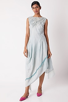 Light Blue Draped Dress by Tahweave