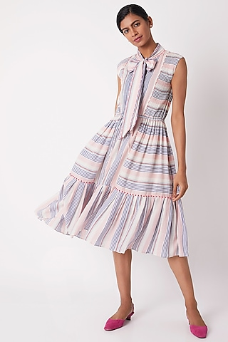 Multi Colored Striped Tiered Dress With Tie-Up by Tahweave