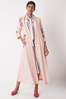 Blush Pink Floral Long Overlayer by Tahweave