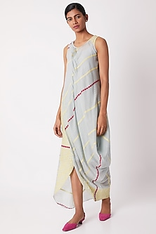 Light Blue Cotton Silk Draped Dress by Tahweave