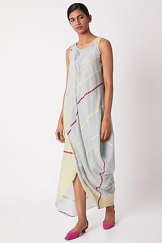 Light Blue Cotton Silk Draped Dress by Tahweave