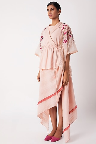 Blush Pink Wrap Overlayer With Drawstrings by Tahweave