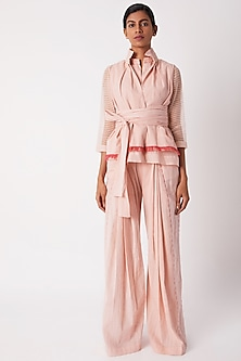 Blush Pink Layered Wrap Top by Tahweave