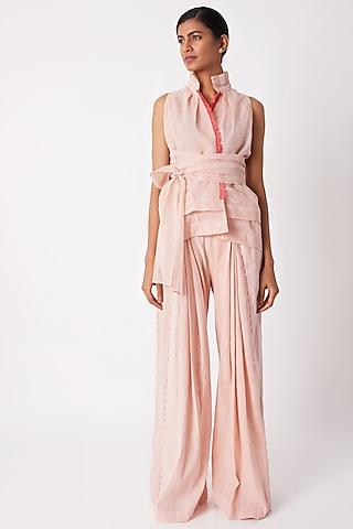 Blush Pink Sleeveless Wraped Top by Tahweave
