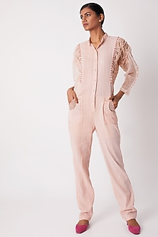 Blush Pink Jumpsuit With Sheer Sleeves by Tahweave