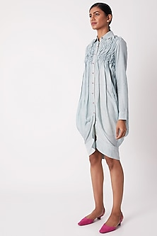 Sky Blue Pleated Shirt Dress by Tahweave