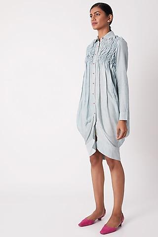 Sky Blue Pleated Shirt Dress by Tahweave