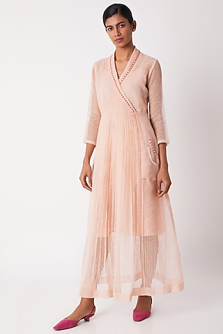 Blush Pink Sheer Pleated Dress With Slip by Tahweave