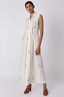 Off White Jamdani Wrap Dress by Tahweave