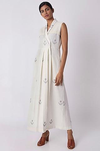 Off White Jamdani Wrap Dress by Tahweave