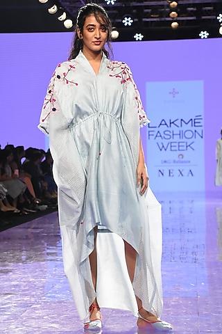 Light Blue Shibori Dress With Drawstrings by Tahweave