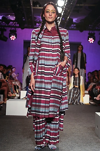 Multi Colored Striped & Pleated Kurta by Tahweave