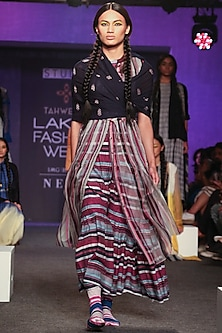 Multi Colored Striped Tiered Dress by Tahweave