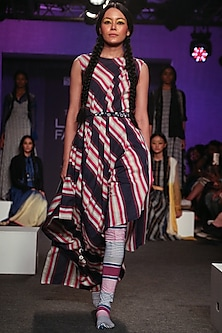 Multi Colored Striped Drape Dress by Tahweave