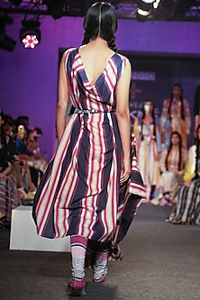 Multi Colored Striped Drape Dress by Tahweave