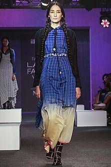 Blue & Yellow Ikat Drape Dress by Tahweave
