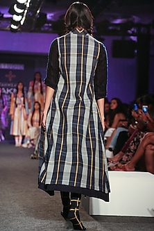 Ice Blue Striped Dress by Tahweave