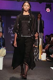 Black Matka Silk Dress by Tahweave