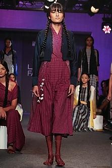 Purple Pleated Jamdani Dress by Tahweave