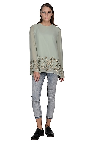 Pale Aqua Embroidered Top by Taika By Poonam Bhagat