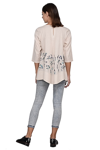 Beige & White Printed & Embroidered Top by Taika By Poonam Bhagat