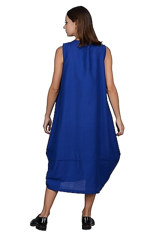Cobalt Blue Embroidered Midi Dress by Taika By Poonam Bhagat