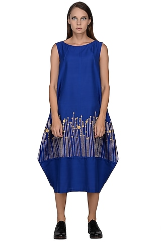 Cobalt Blue Silver Embroidered Midi Dress by Taika By Poonam Bhagat
