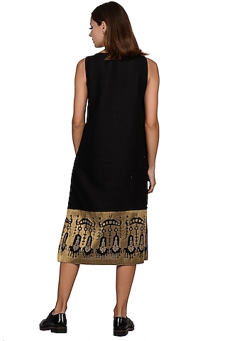 Black Embroidered Midi Dress by Taika By Poonam Bhagat