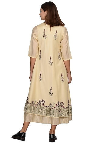 Beige Embroidered Layered Midi Dress by Taika By Poonam Bhagat