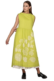 White & Lime Green Floral Embroidered Midi Dress by Taika By Poonam Bhagat