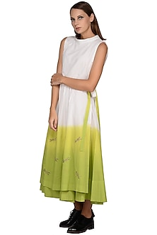 White & Lime Green Tie-Dye Midi Dress by Taika By Poonam Bhagat