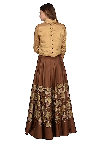 Brown & Beige Embroidered Skirt Set by Taika By Poonam Bhagat