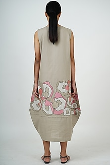 Grey Embroidered Midi Dress by Taika By Poonam Bhagat