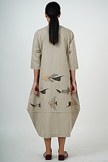 Grey Gold Embroidered Midi Dress by Taika By Poonam Bhagat