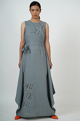 Dove Grey Embroidered Midi Dress by Taika By Poonam Bhagat
