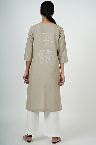 Grey Embroidered High-Low Tunic Set by Taika By Poonam Bhagat