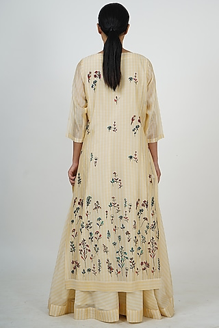 Lemon Yellow Striped & Embroidered Tunic by Taika By Poonam Bhagat